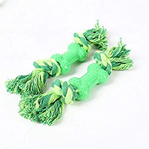 GYJ Dent de Nettoyage Jouet OS Comestible Chien mâcher Chiot molaire Dents bâton Indestructible Dentaire tricoté à la Main Double Noeud Coton Corde Jouet adapté pour Tous Les Chiens