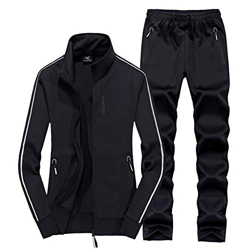 Womens Tracksuit, Outdoor Casual Sweatsuit Spring Fall Jogging Gym Top Sport Zip Up 2 Piece Set Activewear,Black,L Black Hooded Jogging-set