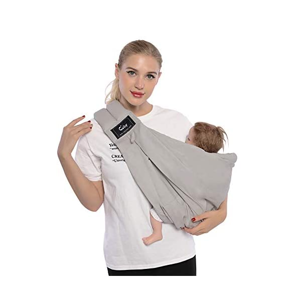 Cuby Baby Slings Carrier for Newborns and Breastfeeding (Grey) CUBY Durable Weight Baby Sling:Designed to carry babies who are 0 to 36 months old and weighing no more than 44 pounds. Five Different Carrying Positions: Including two perfect and convenient for breastfeeding. Cuby's baby carrier allows you to carry your baby in the same position they used in the womb, gives your baby a familiar sense of security and makes it easy for you to enjoy eye contact to bond with your new bundle of joy. Premium Cotton: The baby carrier by Cuby is made of 100% high quality cotton. It is soft, skin-friendly and breathable. 1