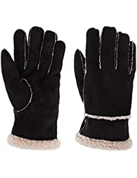 3f5c0c966f8cd8 Winter Handschuhe Thermische Lederhandschuhe Winddicht Warm  Fahrradhandschuhe mit Plüschfutter Outdoor Schnee Handschuhe  Fingerhandschuhe für Damen und