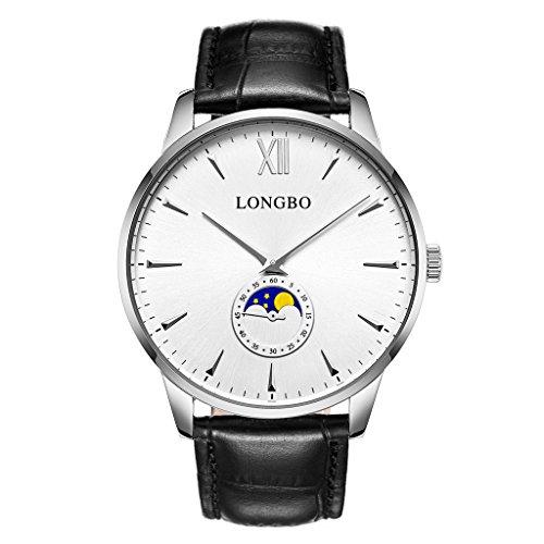 Longbo Casual Herren Armbanduhr Sonne Mond Phase versilbert Römische Zahl Business schwarz Leder Band Kleid Armbanduhr Wasserdicht Datum Paar Uhren