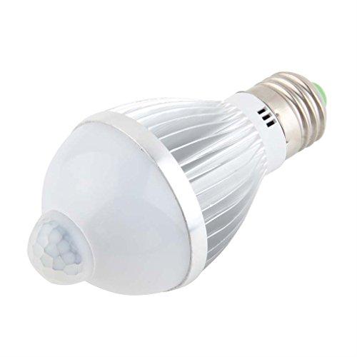 ulable 5W E27Auto PIR Infrarot-Bewegungsmelder Erkennung Weiß LED Licht Lampe (Ge-bewegungsmelder Led-licht)