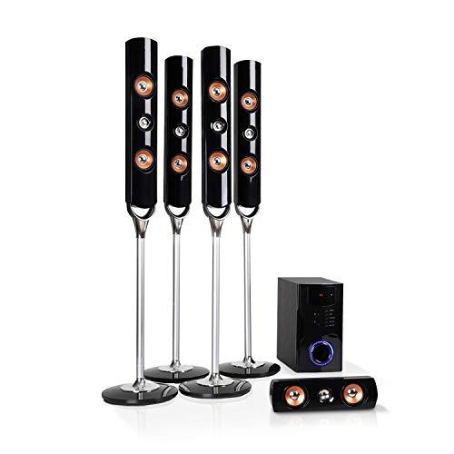 """AUNA Areal Nobility Surround Sound System 5.1-Kanal Heimkinosystem Lautsprechersystem (120 Watt RMS, 13,3 cm (5,25\"""") Subwoofer, Satellitenlautsprecher, Bluetooth 3.0, USB-Port, SD-Slot, AUX) schwarz"""