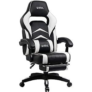 Umi Gaming Stuhl Bürostuhl Schreibtischstuhl mit Fußstützen Gamer Stuhl Drehstuhl Höhenverstellbarer Gaming Sessel PC Stuhl Ergonomisches Chefsessel mit Armlehne Weiß