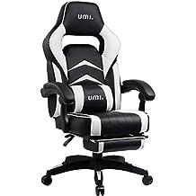Umi. by Amazon - Sedia Gaming Ufficio da Scrivania Poltrona Ergonomica Sedie da Gaming con Poggiapiedi, Colore Bianco