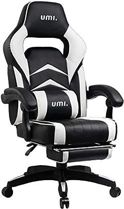 Umi. Essentials - Silla Gaming Silla de oficina ergonómica con reposapiés acolchado (Blanco)