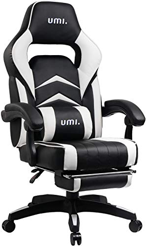 Amazon Marke: Umi. Essentials Gaming Stuhl Computerstuhl Chefsessel Kunstleder Bürostuhl Höhenverstellbarer Schreibtischstuhl Ergonomisches Design mit Fußstütze und Wippfunktion (Weiß) -