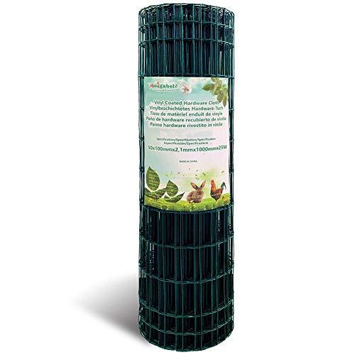1M X 25M Malla de Alambre Cuadrada Verde - Malla Tamaño 50 x 100 mm Rollo de Malla de Alambre Valla Jardín Alambrada