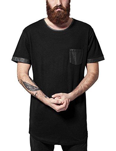 Urban Classics Long Shaped Leather Imitation Tee-T-shirt  Uomo    Schwarz (blk/blk 17) X-Large