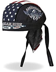 Authentic Bikers Premium Headwraps, AMERICAN RIDE EAGLE - High Quality Micro-Fiber & Mesh Lining HEADWRAP