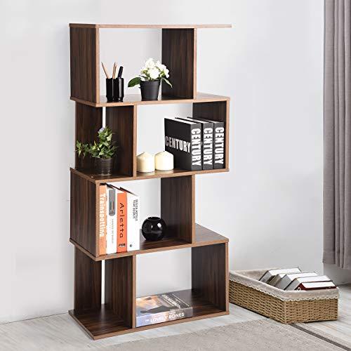 Coavas Geometrische asymmetrische S-förmige Moderne Bücherregal, 4-Etagen, Nussbaum(49''x 23.2'') -
