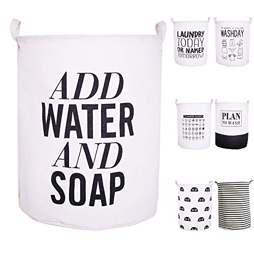 CAM2? 15.74x15.74x19.68 Inches Laundry Baskets Foldable English Letters Linen Fabric Laundry Fabric Household Organizer Basket