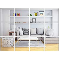 Elcoho 30 Pieces Flexible Mirror Sheets Self-adhesive Plastic Mirror Tiles Non-Glass Mirror Stickers for Home Decoration, 6 × 6 Inches (30, 6 × 6 inches)