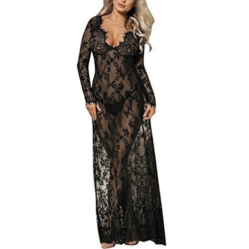 De feuilles Damen Schwanger Kleid Mutterschaft Dress Sexy Jerseykleid Spitze Langarm Tank Kleid Lange Maxi Kleid Nachtwäsche Nacht Kleid Pyjama Kleid (2XL, schwarz)