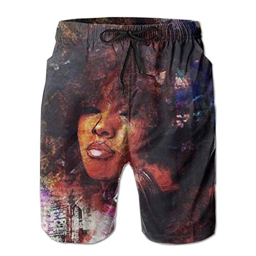 4a0dbde631 BagsPillow Men's Swim Trunks African Black Women with Purple Hair Casual  Sportswear Quick Dry Beach Shorts