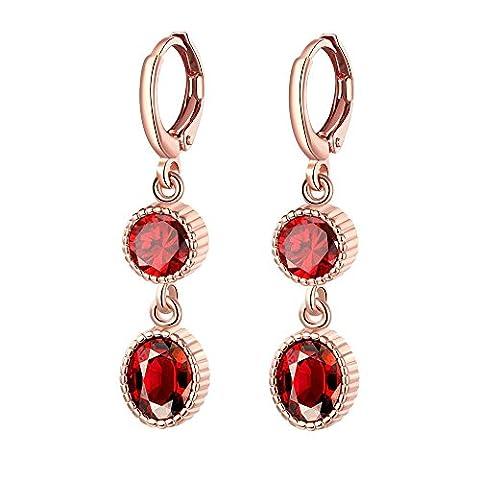Bodya pour femme Rouge CZ strass cristal percées double ovale Pendants d'oreilles Femme Bijoux pour fête de mariage