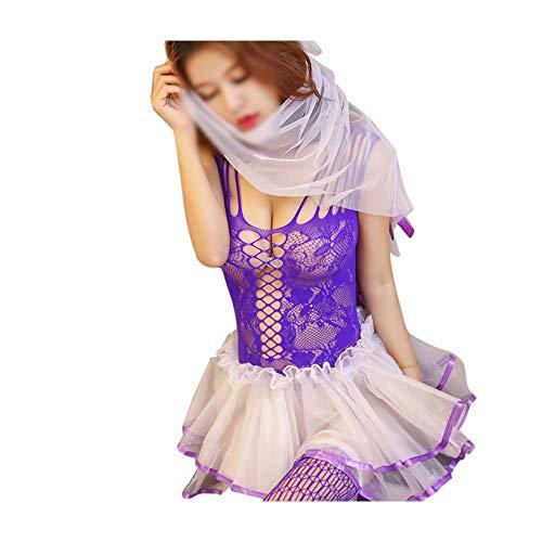 Göttin Plus Kostüm Lila Größe - Cvthfyky Erotische Dessous Versuchung weibliche Hohle große Größe Net Kleidung ausgesetzt Brüste schlanke Braut Brautkleid mit Schleier Tutu (Farbe : Lila)