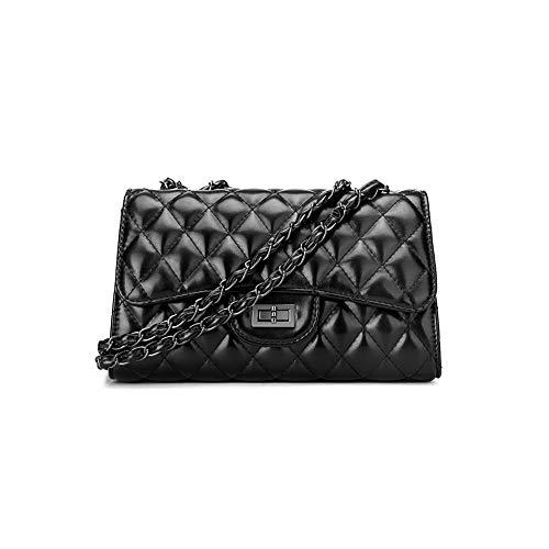 09774ce3e17a9 Fishbag Umhängetasche Handtaschen Damen Kleine Leder Schwarze Elegante  Vintage Klassische Kette Gesteppte Steppmuster Taschen Arbeitstasche (