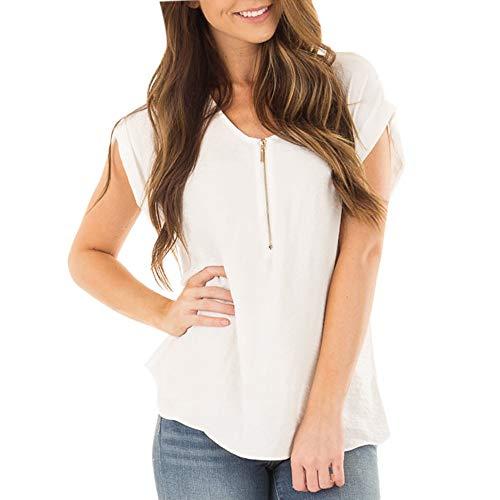 Blusas para Mujer Verano 2019,BBestseller Sexy Cuello en v Cremallera Camiseta de Mujer Manga Corta Suelto Basica Tops Casual T-Shirt