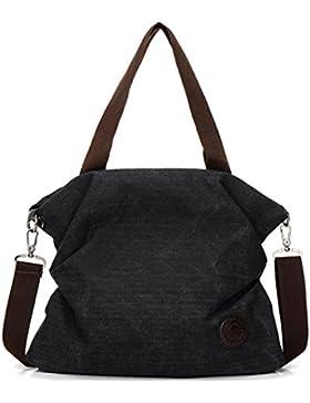 Canvas Damen Handtasche-Kebos Vintage Schultertasche Shopper Tasche Umhängetasche für Arbeit, Schule und Lässige...