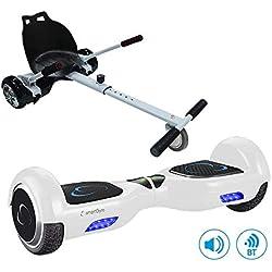 """SmartGyro X2 UL+ GO KART PACK WHITE - Patín eléctrico X2 UL ( Hoverboard 6'5"""" con Ruedas Run-Flat) y Accesorio Go Kart Pro (Sillin adaptable), color blanco"""
