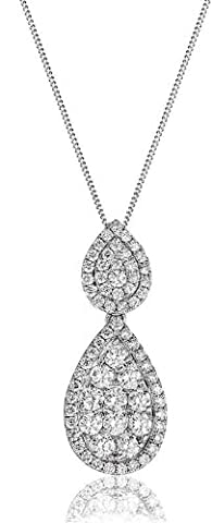 1CT Certified G/VS2 Pave Diamond Drop Pear Shape Pendant in 18K White Gold