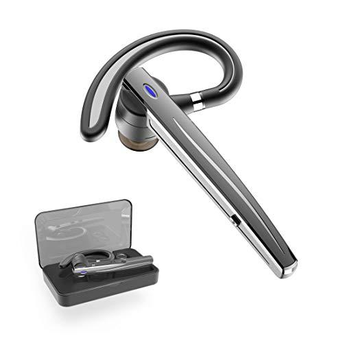 Bluetooth Headset,Wrieless Ohrhörer Bluetooth Kopfhörer V5.0 Freisprechen mit Mikrofon für Business/Büro/Fahren (Schwarz&B5)