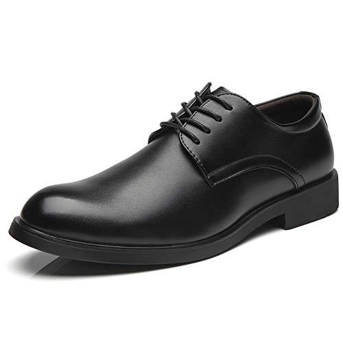Zapatos de Negocios Hombres de Cuero clásico con Cordones Redondo Toe Formal Vestido Hombres Derby Zapatos