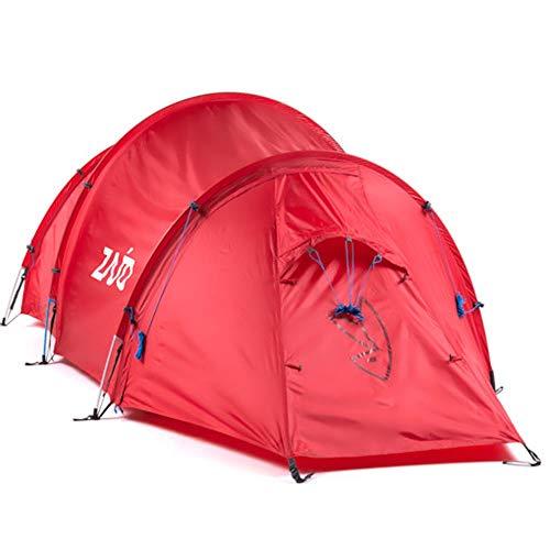Zajo Outdoor Tunnelzelt Lapland 2 Mann Nur 3,6kg Trekkingzelt Outdoor Zelt 2 Eingänge 2 Personen Campingzelt wasserdicht 10000 mm Wassersäule rot 440 x 155 x 120 cm für Zelten, Camping, Trekkingtouren