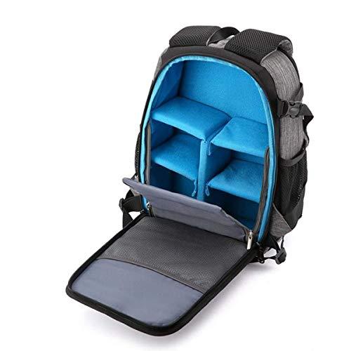 RJJ Beiläufiger SLR-Kamera-Rucksack, leichte stoßfeste Kamera-Tasche der großen Kapazität wasserdichtes Oxford-Tuch-Reise-Kamera-Rucksack-Stativ im Freien und Laptop-24 * 19 * 36CM Grau 02 Stabil Oxford 2 Tasche