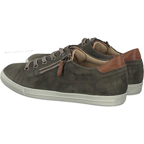 Paul Green 4128-042 Damen Sneaker Aus Hochwertigem Leder filigrane Kontrastnähte oliv/cuoio