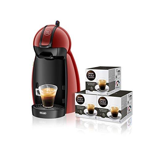 Pack De'Longhi Dolce Gusto Piccolo EDG200.R - Cafetera de cápsulas, 15 bares de presión, color rojo + 3 packs de café Dolce Gusto Espresso Intenso