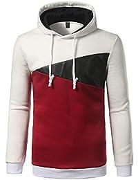 BUSIM Men's Long Sleeved Sweater Hoodie Stitching Color Jacket Sweatshirt Pullover Jacket Jacket Sports Shirt...