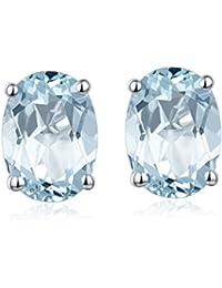 Hutang Jewelry 1,34Ct aguamarina Natural Oval 5x 7mm Stud Pendientes de plata de ley 925Gemstone Fine Gemstone Mujeres del regalo