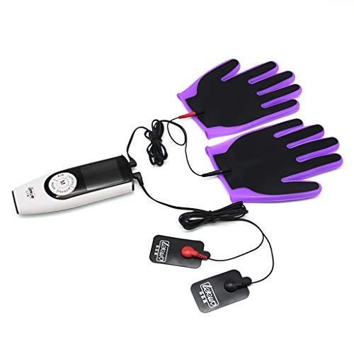 Gemmry Elektrisch Schock Frauen Orgasmus Set Elektrostimulation Interaktiver Touch Massage-Handschuhe, Erotik Stimulator Reizstromgerät SM Sexspielzeug für Männer Paare, USB Aufladen Purple -