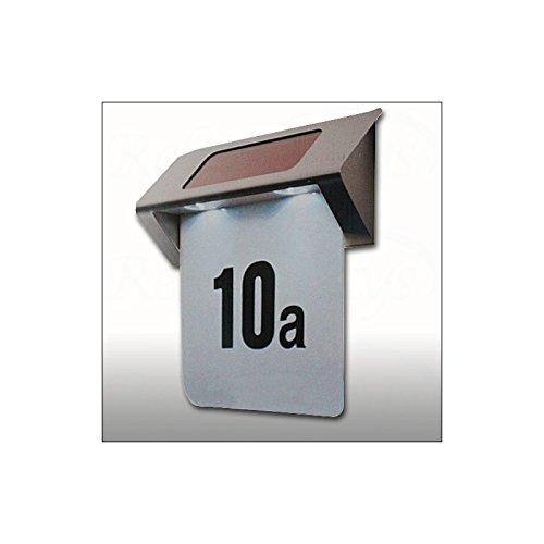 Numero Civico Illuminato LED Solare Inox Casa - 2 Autoadesivi Lettere