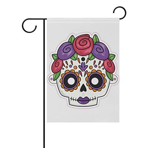 LINDATOP Gruselige handgezeichnete Halloween-Maske Garten-Flagge, 30,5 x 45,7 cm, doppelseitig, Garten-Dekoration, Polyester, Outddor-Flagge, Home Party, Polyester, Multi, 12x18(in)