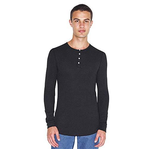 American Apparel Herren Baby Thermal Long Sleeve T Henley Shirt, schwarz, XX-Large -