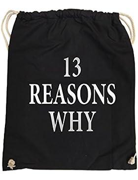 Comedy Bags - 13 REASONS WHY - TOTE MÄDCHEN - hipster Turnbeutel, bedruckter Gymbag aus 100 % Baumwolle, praktischer...