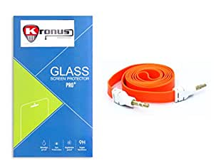 Kronus Auxiliary(AUX) Cable & 2.5D Curve edged Tempered Glass For Micromax Canvas Pep Q371