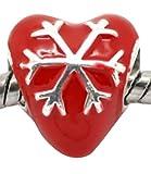 Believe Beads x1Cuore Smaltato Rosso, Placcato argento fiocco di neve per braccialetti Pandora/Troll/Chamilia