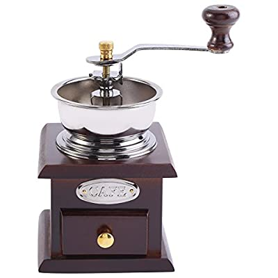 Zerodis Manual Coffee Grinder, Retro Wood Hand Coffee Grinder Coffee Grain Burr Mill Machine with Catch Drawer