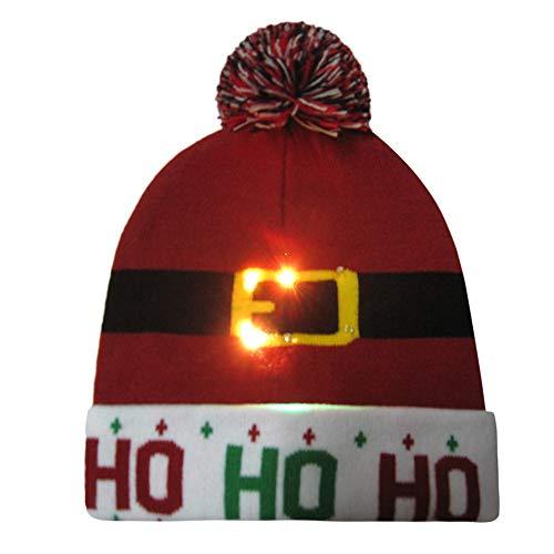 FeiBeauty Weihnachten Weihnachtsmann-Elch-Schneemann-Karikatur-Druck LED-Lichtleiter Hut Strickmütze Wintermütze Gestrickt verdicken Hut