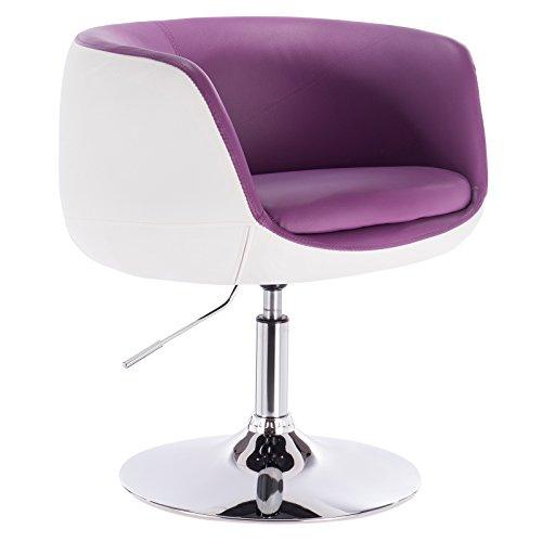 Woltu bh42vlw-1 poltrona da bar sedia girevole sgabello cucina sofa poltroncina con schienale braccioli ecopelle acciaio cromato altezza regolabile moderno 1 pezzo viola+bianco