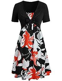 Ladies Dress, Rovinci Women's 50s 60s V-Neck A Line Dress Short Cap Sleeve Fashion Bow Knot Bandage Top Dress Sunflower Printed Knee Length Suits Dress Bohemian Vintage Party Midi Dress