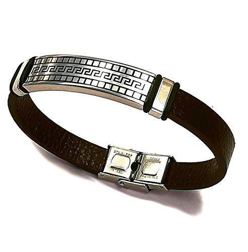 Männer Armband - Sentir la vie! (Spüre das Leben!) - 21cm - Farbe: silber - Stylisches Herren-Armband in Leder Optik