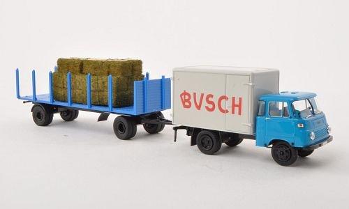 Preisvergleich Produktbild Robur LO 2500 Koffer, Circus Busch, mit Rungenanhänger und Ladegut , Modellauto, Fertigmodell, Brekina 1:87