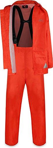 Wasserdichter Regenanzug, Regenkombi aus Regenjacke und Regenhose mit Hosenträger - Unisex Farbe Orange Größe XXL
