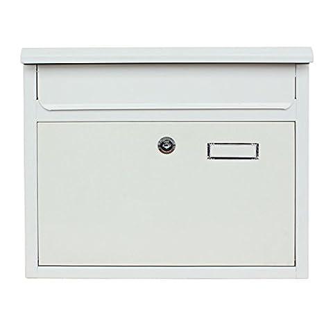 Briefkasten Wandbriefkasten extra Lackschicht gegen Rost Mailbox Briefkastenanlage Postkasten Stahl Schwarz oder Weiß in 2 Größen 30x36x10cm oder 22x32x10cm Montagematerial und 2 Schlüssel inclusive (Weiß (Leichter Rost Matt)