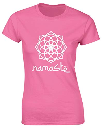 Hippowarehouse Spiritual Mandala Namaste Womens Fitted Short Sleeve t-Shirt  (Specific Size Guide in 6446c45f12fde